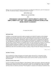Pregnancy And Maternity Entitlements Under The Employment Act 1955