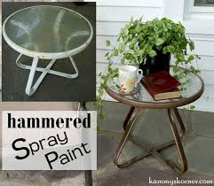 end tables white outdoor table tabless hammered spray paint kammy korner updating little the easy way