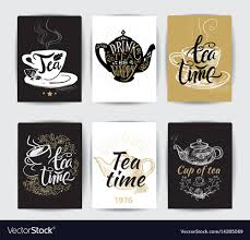 Set Of Tea Pot Silhouettes With Quotes Tea Party
