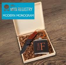 modern monogram design for stirling groomsmen box