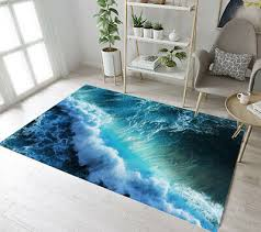 blue ocean big sea wave pattern area rugs bedroom carpet living room floor mat