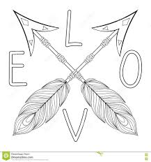 Bohemian Love Arrow Handpainted Sign With Feathers Hand Drawn Stock