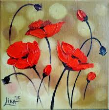 original painting red poppies 8 x 8 abstract oil flowers palette knife painting