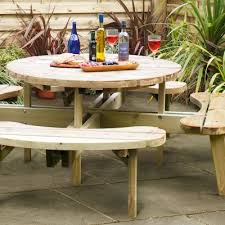 grange round garden table with seats