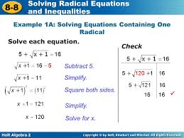 example 1a solving equations containing one radical