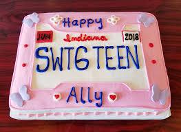 Sweet 16 License Plate Sheet Cake Adrienne Co Bakery Sweet 16