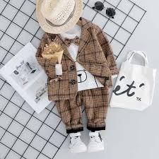 <b>Autumn 2019</b> Fashion <b>Baby</b> Boys Plaid Suit Coat + T Shirt + <b>Pants</b> ...