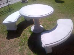 56 concrete patio bench bordeaux top table outdoor
