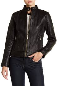 image of michael michael kors leather ribbed panel jacket