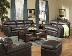 handsome living room pictures ideas black leather couches brown painted wood table storage blue fabric vertical