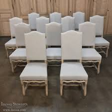 set of 12 newly upholstered antique french os de mouton dining chairs