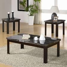 milton green stars 6637 black faux marble coffee table set