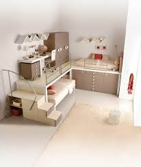 chic space saving kids bedroom for twin with beige bunk beds and rug biege study twin kids study room