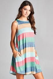 Gozon Size Chart Stripe Swing Dress Mini Gozon Dresses Sleeveless