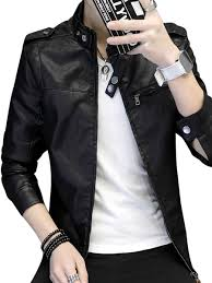 men s leather jacket zipper all match jacket share