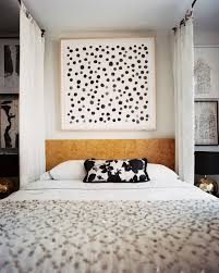 choose black flowery cushion on cozy diy canopy bed for contemporary bedroom with black shaded table