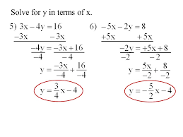 5 solve for y in terms of x