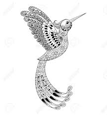 Zentangle Hand Drawn Artistically Hummingbird Flying Bird Tribal