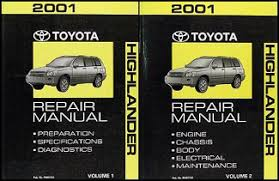 2001 toyota highlander wiring diagram manual original 2001 toyota highlander repair shop manual original set 119 00