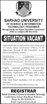 vacant in sarhad university of science information technology situation vacant in sarhad university of science information technology peshawar 8th 2016