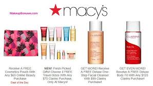 macy s free bonus gift with purchase offers from clarins dior beauty elizabeth arden lancôme origins sk ii dels at makeupbonuses clarins