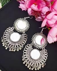 german silver mirror earrings indian