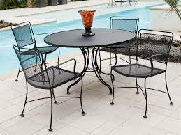 deck wrought iron table. Furniture. Black Wrought Iron Outdoor Round Table With Chair Using Arm And Back Cast Wood Garden Furniture Deck Patio G