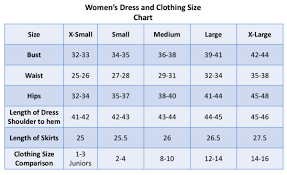 66 All Inclusive Measurement Chart Womens Clothing