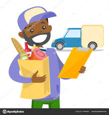 Delivery Courier Delivering Food To Customer Stock Vector