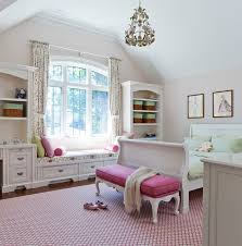 Jill Greaves Design Girl's Bedroom with Window Seat traditional-kids