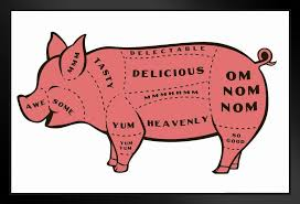 Tasty Pig Cuts Butcher Chart Humor Framed Poster 20x14 Inch