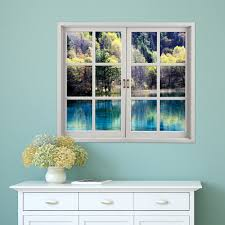 Artificial Window Green Lake Pag 3d Artificial Window Wall Decals Landscape Room