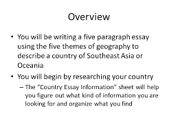 country essay gathering information day three ppt 2 overview