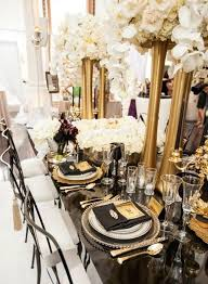 black gold and silver wedding decor