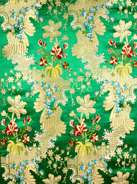 Floral Brocade Green Floral Brocade With Golden Thread Weave