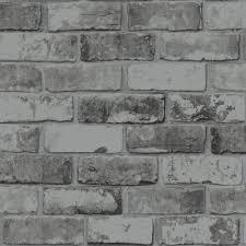 Slate Grey Realistic Brick Wall Faux ...
