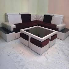 wooden corner sofa with center table