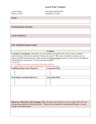 Assessment Plan Template 24 FREE Lesson Plan Templates [Common Core Preschool Weekly] 4