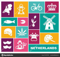 Traditional Symbols Traditional Symbols Of The Netherlands Flat Icons Stock Vector