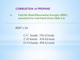 5 combustion of propane 4 find the bond dissociation energies bde associated for each bond from table 4 4 bde s for c c bonds 356 kj mole c h bonds