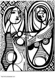 Kleurplaat Picasso Meisje Voor De Spiegel Kunstkleurplaten