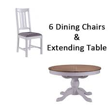 georgia painted extending round pedestal dining table 6 georgia dining chairs furniture plus