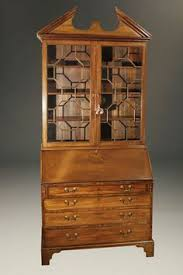 18th century antique english george iii drop front secretary with bookcase in gany circa 1780