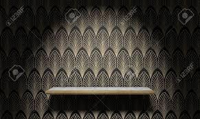 Een Lege Marmer En Goud Gegarneerd Plank Op Een Muur Bekleed In Art
