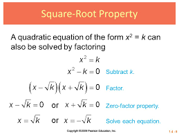 square root property a quadratic equation of the form x2 k can also be