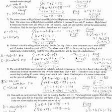 system equations word problems worksheet worksheets
