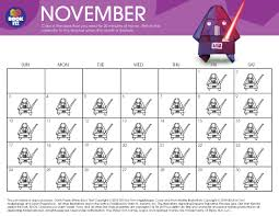 November November Calendar Origami Yoda November Tracking Calendar The Pizza Hut Book