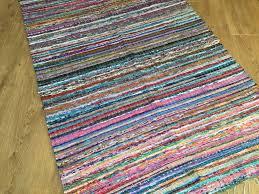 purple multi colour fine stitch rag rug 90cm x 150cm
