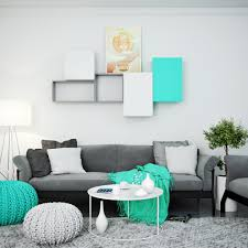 Turquoise Living Room Decor Turquoise Living Room With Modular Wall Shelves And Cabinet