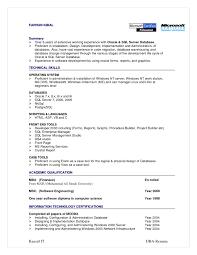 sql server dba resume